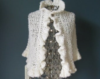 White Boucle Ruffled Wedding Shawl