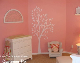 Tree Wall Decal for Nursery Kids Room Cute Tree with Bird Trio LARGE Size Removable Wall Decal for Girls Boys Room Playroom Made in USA