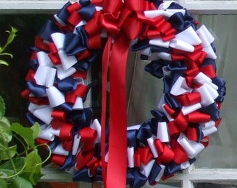 Fourth of July Pair of Wreaths Ribbon Wreath Red White Blue Patriotic 16 inch