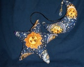 Celestial star and Crescent Moon Hanging for car, wall, window etc. Smiling Suns Moons Stars Gold - celestialcreationsmv