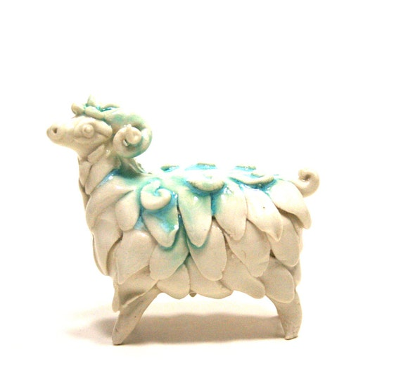 sheep figurine - snowfall ram - porcelain animal