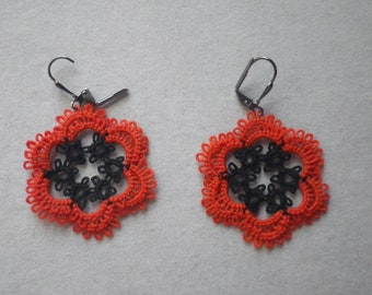 Black Amp Orange Tatted Earrings Tatting Jewelry Halloween