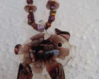 Purple Piggy Beaded Necklace