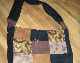 Brown/Black Patchwork Messenger Bag