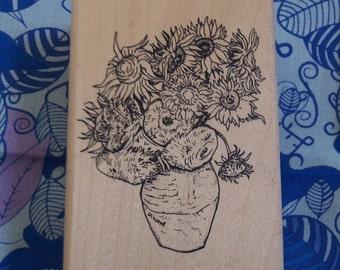 Sunflower Planter Rubber Stamp