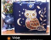 Vintage Mid Century Modern Sequined Purse - Rhinestone Owl in the Night Sky