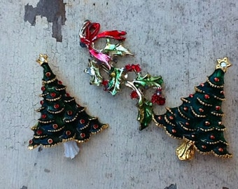3 Vintage Christmas Pins 2 Trees and Holly