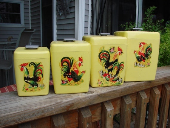 Vintage 1960s Era Sunny Yellow Plastic Canister Set with Rooster Chicken Decals