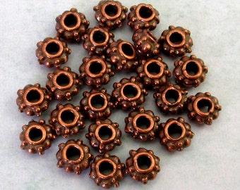 Mykonos Bali Style Bronze Patina Metal Spacer Bead, 6 MM 25-Pieces M123