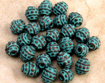 Mykonos Bali Style Green Patina Barrel Spacer Bead, 4 MM 25-Pieces M153