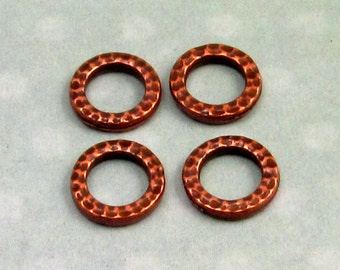 TierraCast Hammertone Small Round Link, Antique Copper 4-Pc. TC36