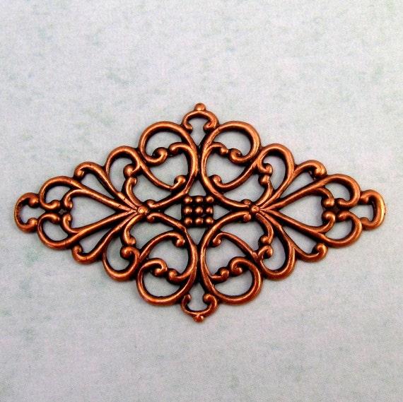 Diamond Filigree Connector Antique Copper K76