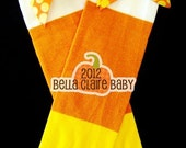 Candy Corn SpArKLe Ribbon leg warmers with bows for baby girl toddler
