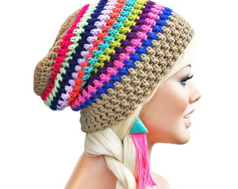 Crochet Slouch Eclectic Rainbow and Beige Beanie Mens Womens Slouchy