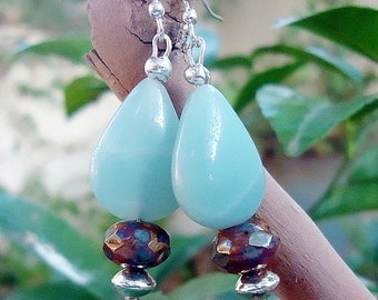 SALE, Amazonite & Czech Glass Earrings