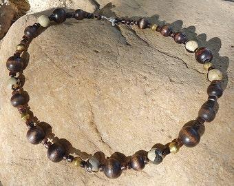 SALE, Wood, African Brass, & Jasper Necklace