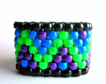 Kandi Cuff - Neon Zigzag Kandi Bracelet ,Blue, Green, Purple, Raver Plur Zig Zag
