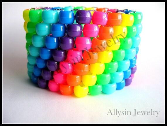 Neon Rainbow Kandi Cuff, Raver Plur Bracelet