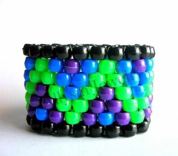 Kandi Cuff Neon Zigzag Kandi Bracelet Blue Green by Allysin