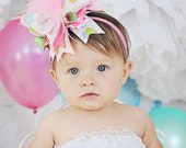 Over The Top Cupcake Birthday  Pink Green Blue OTT Big Bow Headband with Pink Ostrich Feathers