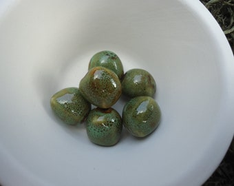 Honey and Pale Green Round Beads