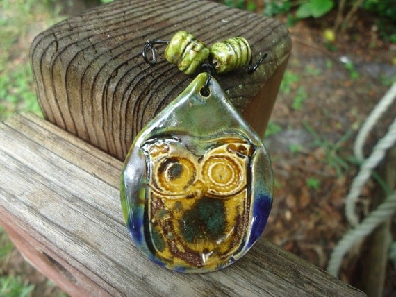 Owl Teardrop Pendant with Matching Beads