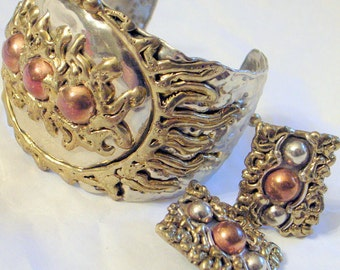 Fabulous Brutalist Bracelet And Earrings -SALE  Mexico - Silver Copper Brass - Clip Earrings - Modernist Abstract - Wide Cuff - Vintage 70s