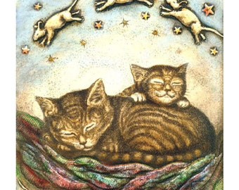 Cat Naps kitten with mice and quilt giclee print