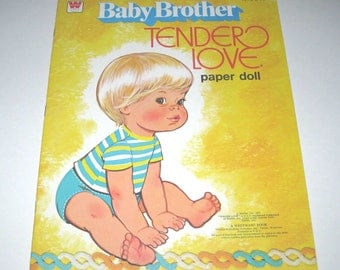 Vintage 1970s Uncut Baby Brother Tender Love by Mattel Paper Doll Book for Children by Whitman