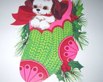 Vintage Christmas Die Cut Puppy or Dog in Stocking