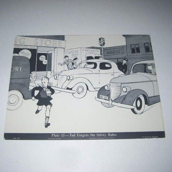 Vintage 1940s Large Classroom Picture Card or Poster Entitled Ted Forgets the Safety Rules