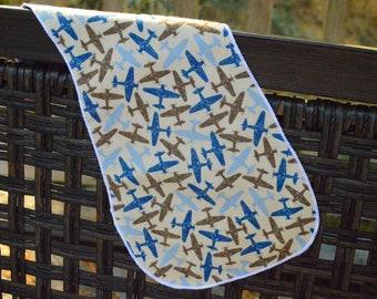 Blue Airplanes Burp Cloth