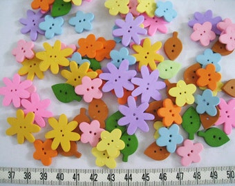 26pcs of  Flower Button  and Leave Button