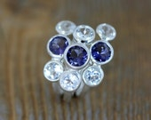 Iolite and White Topaz Three Stone Ring in Recycled Sterling Silver // Ready to Ship Size 5