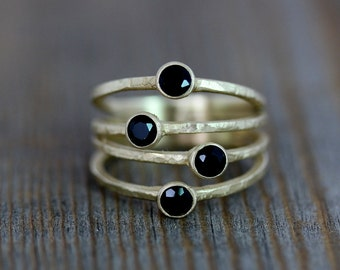 14k Yellow Gold Ring, Multi Stone Ring, in Black Spinel and Rustic Finish Recycled Gold