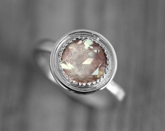 14k Palladium White Gold and Oregon Sunstone Halo Ring, Vintage Inspired Engagement Ring with Milgrain Detail, Made To Order