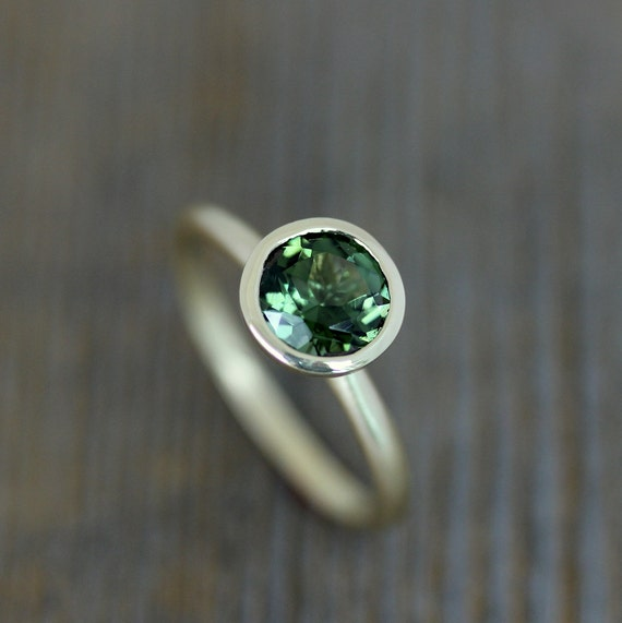 Green Tourmaline and 14k Yellow Gold Ring, Open Bezel Solitaire Design
