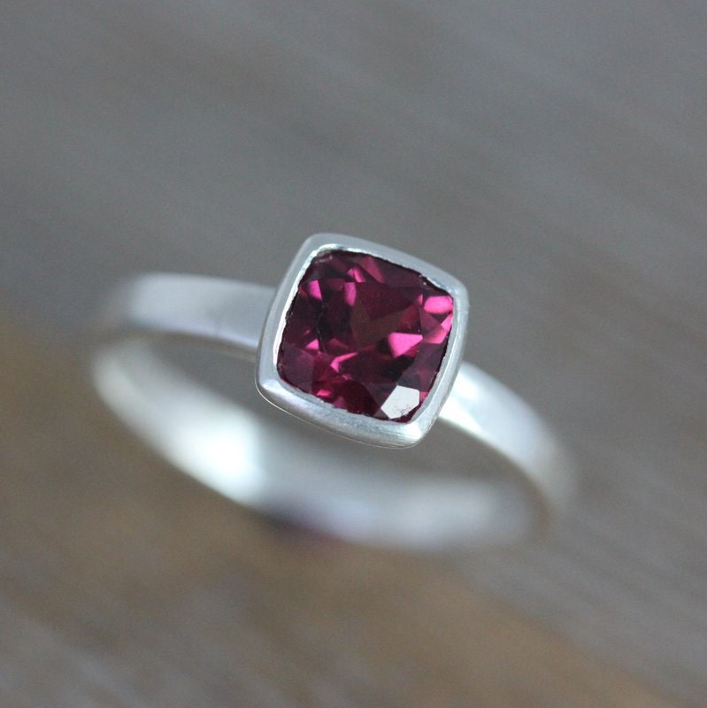 pink garnet ring january birthstone ring cushion solitaire. Black Bedroom Furniture Sets. Home Design Ideas