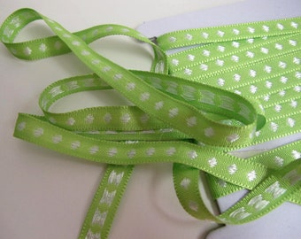3 yards POLKA DOT Twill Tape Jacquard trim, White  on Apple Green. 7/16 inch wide. 934-03
