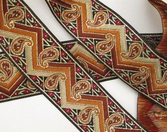 3  yards VENITIAN Jacquard trim in copper, burnished copper, ivory, burgundy, gold, on black. 1 1/4 inch wide. 610-A
