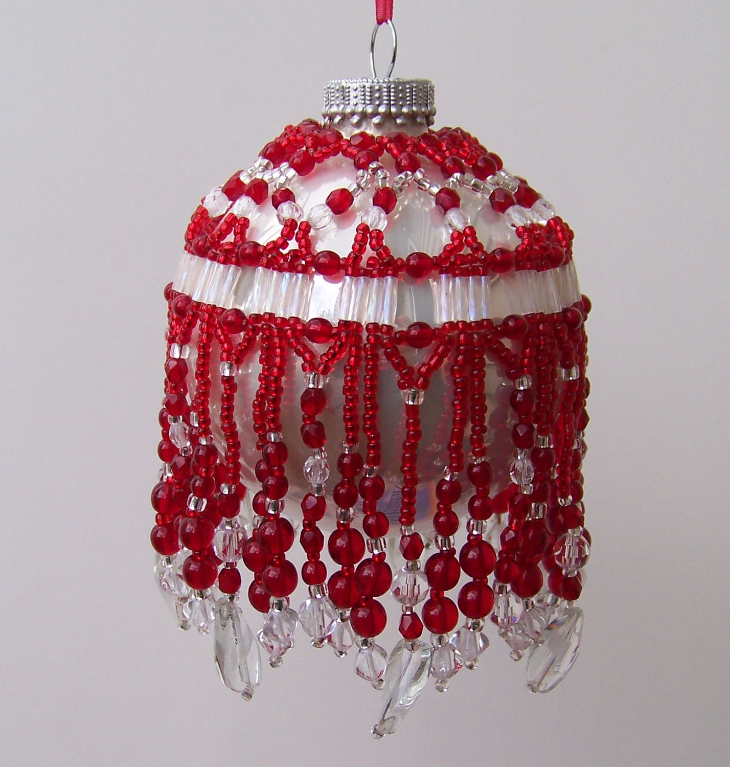 Beaded Ornament Cover Handmade Red And Crystal Clear