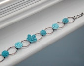 Copper Oval Link Bracelet, Blue Flowers, Shabby Chic