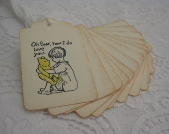 Handmade Gift Tag - Classic Pooh Vintage Style Baby Shower Favour Tag
