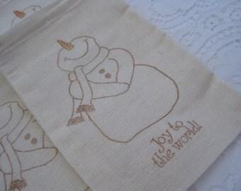 Drawstring Muslin Gift Bag - Stamped - Joy to the World Snowman
