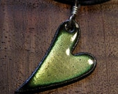 Enamel Heart Necklace, Green Heart Pendant, Copper Enamel Jewelry, Mom Necklace
