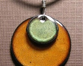 Copper Enamel Jewelry Olive Green and  Persimmon Orange disc necklace The Prairie Collection
