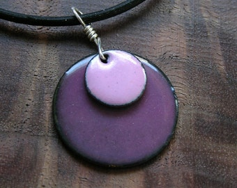Copper Enamel Necklace Clover Pink and Aubergine Orchid Purple Discs