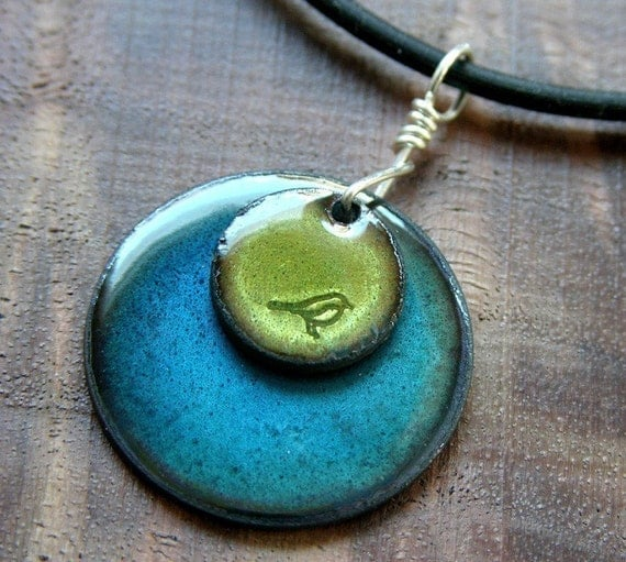Hand Crafted Enamel House Necklace Pendant Copper Home: Bird Jewelry Olive Green Water Blue Pendant Copper Enamel