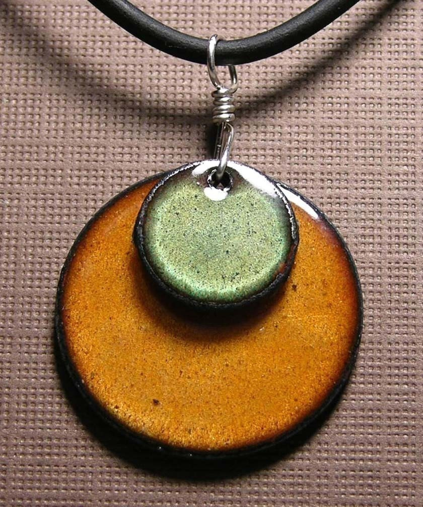 Hand Crafted Enamel House Necklace Pendant Copper Home: Copper Enamel Jewelry Olive Green And Persimmon Orange Disc