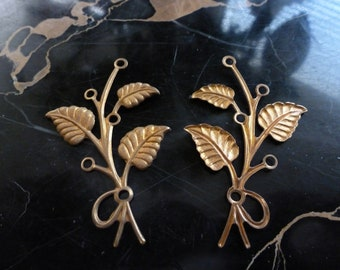 Vintage Connectors, 1950s Leaf Stampings, Raw Unplated Brass Flower Stem Jewelry Findings, 55x36mm, 2 pcs. (C23)